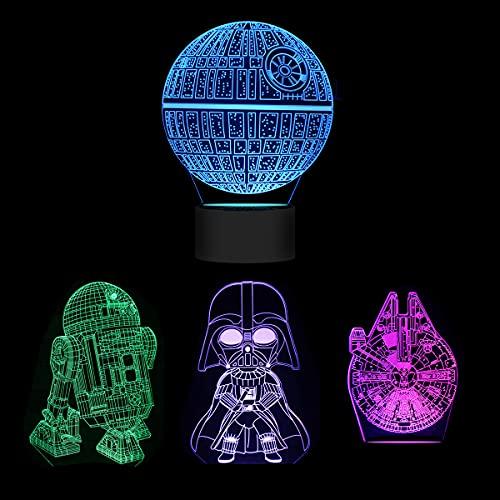 Huanchenda Star Wars 3D Ilusión Lámpara, 4 Patrones 16 Colores Cambian Luz Nocturna Lámpara de Noche para Decoración de Dormitorio