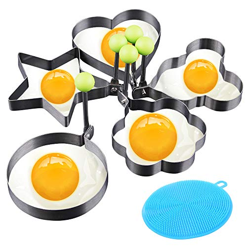 Cyleibe Egg Rings- Fried Egg Mould, Stainless Steel Non-Stick Egg Shaper Poachers Pancake Mould for Kitchen Gadget Tool, 5 Pcs Egg Poacher Molds + 2 Pcs Silicone Kitchen Spongs
