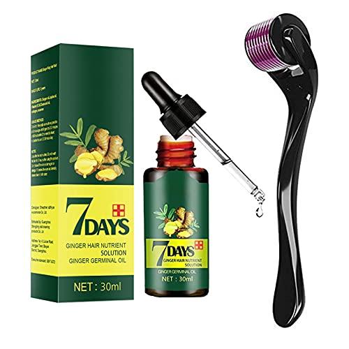 30ml Organic Hair Regrowth Kit, Strong Hair Regrowth Serum, Hair Regrowth Serum Ginger Oil w Activating Roller, Promotes Thicker, Repairs Hair Follicles (1PCS)