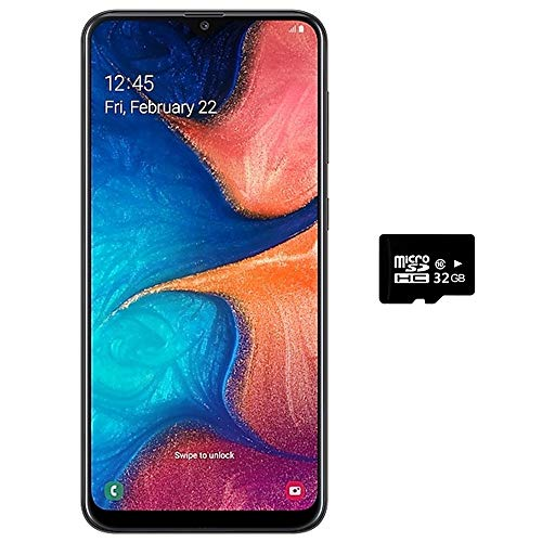 "Samsung Galaxy A20 (32GB, 3GB RAM) 6.4"" Super AMOLED, Infinity-V Display, Fast Charge 4000mAh Battery, US & Global 4G LTE Dual SIM GSM Factory Unlocked A205G/DS - International Model (Black, 32GB)"
