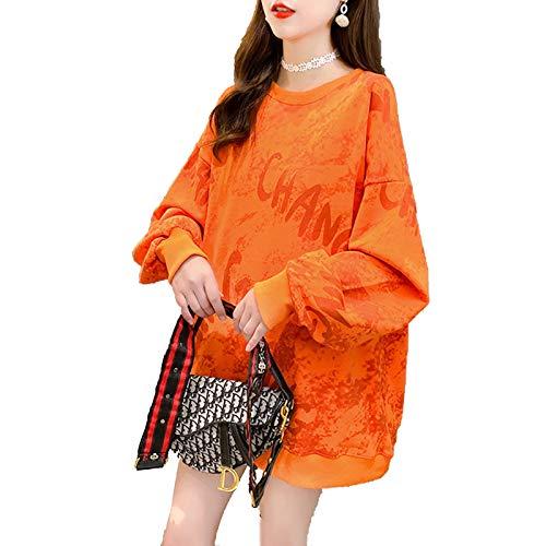 HLDWM Jersey de punto para mujer, de algodón, cuello redondo, ideal para invierno, camping, senderismo, naranja, XL