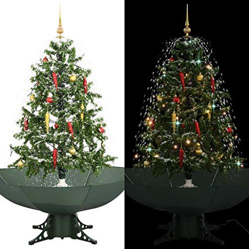 vidaXL Schneiender Weihnachtsbaum mit Schirmfuß Schneefall Kugeln LED-Lampen Tannenbaum Christbaum Kunstbaum Dekobaum Schnee Grün 140cm
