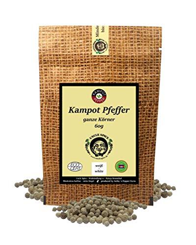 Uncle Spice weißer Kampot Pfeffer - 60g Kampot Pfeffer weiß - Premiumqualität - ganze sonnengetrocknete Pfefferbeeren, weiße Pfefferkörner ganz, handverlesen für die Mühle, Perfekt als Geschenk