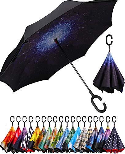 BAGAIL Double Layer Inverted Umbrella Reverse Folding Umbrellas Windproof UV Protection Big Straight Umbrella for Car Rain Outdoor with C-Shaped Handle (Starry Sky)