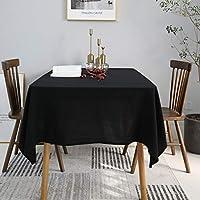 NiNiHome テーブルクロス テーブルカバー 綿100%/田園風 (1枚物) インテリア用品 多用途 耐熱 汚れ防止 手入れ簡単 (130x180cm, ブラック)
