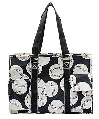 NGIL All Purpose Organizer Medium Utility Tote Bag 2018 Spring Collection (Baseball Black)