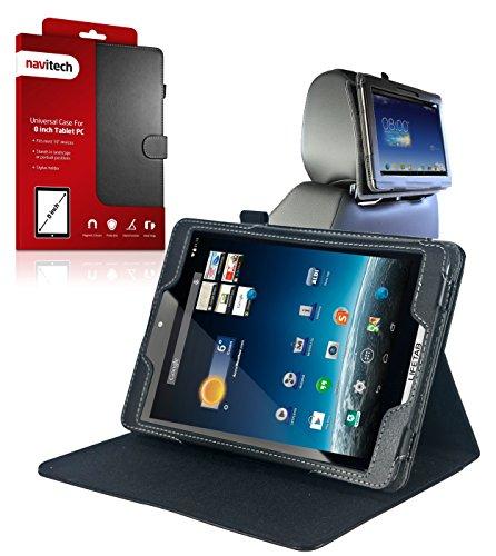 Wie in Aldi Navitech Schwarze Executive Echte Premium Leder Flip Trage Tasche mit Einstellbarem Ständer & KFZ Kopfstützenhalterung kompatibel mit dem neue Medion Lifetab S7852 & S7851 8 Zoll Internet Tablet