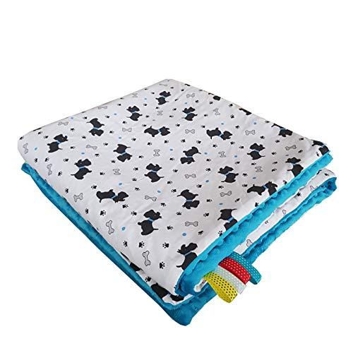 Manta para bebé Minky de color azul medio, 75 x 100 cm, muy suave y esponjosa, hecha a mano