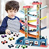 LiDi RC Gliding Car Toy Toddler Toys Car Ramp Toy Race Track Car Gifts Zig Zag Car Slide with 6 Ramps 8 Mini Cars- Racing Car Toys for Kids Boys Girls 1 2 3 4