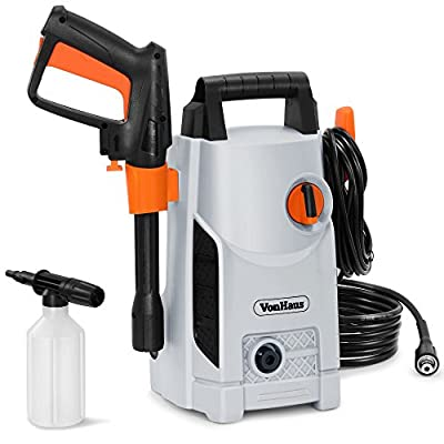 VonHaus 1600W Pressure Washer with Accessories – Outdoor Home/Patio & Car Cleaner - 90bar working Pressure /135bar Max Pressure, 330litres/hour Flow by