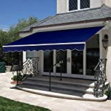 Best Choice Products 98x80-inch Retractable Aluminum Polyester Patio Sun Shade Awning Cover w/UV- & Water-Resistant Fabric and Crank Handle - Navy Blue