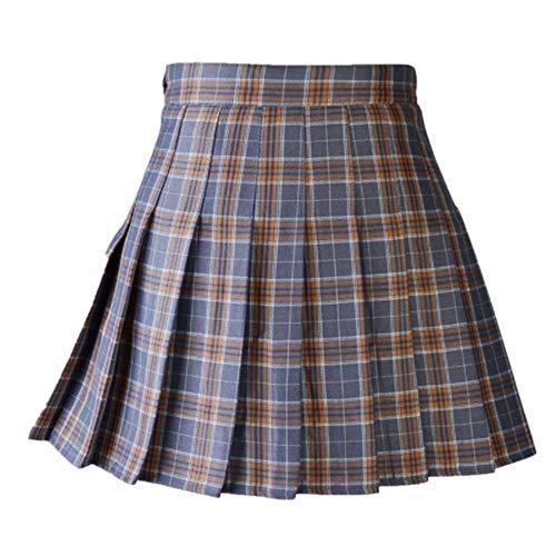 N\P Falda de cuadros casual para mujer con cintura alta plisada una línea de uniforme con pantalones cortos internos