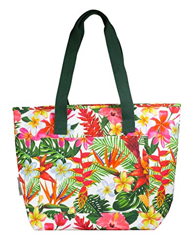 Women's Cute Insulated Portable Cooler Bag Large Capacity, Family Size Collapsible Soft Thermal Tote Holds Food/Drinks/Wine for Camping, Pool, Beach, Lake, and Picnics, Tropical Paradise