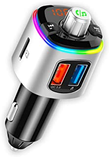 CRUST Car Bluetooth Device for Music System, FM Transmitter with QC 3.0 Dual USB Fast Charger & Call Receiver; 7 Colour LE...