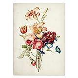Cartel vintage un ramo de flores lienzo azul flor lienzo pintura arte de la pared bodegón imagen retro hogar sin marco pintura decorativa A94 60x90cm