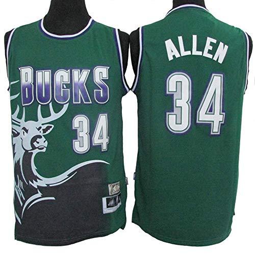 LLZYL Jersey- Milwaukee Bucks 34# Ray Allen Camisetas del Equipo De Baloncesto Jersey Retro De Estrellas para Hombres Tela Transpirable Fresca