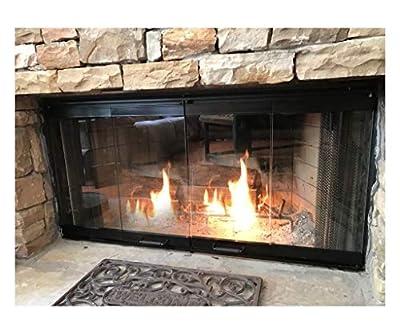Fireplace Glass Door Set for Heatilator Fireplace Model# E42, E-42I, EC42, EC-42I, EL42 (Black Finish) by Burgess Manufacturing Corporation