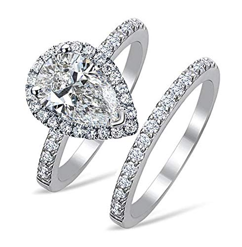 101 Facets Realistic 2 carats pear Shape Simulated Diamond Ring Band Set 925 Silver (5)