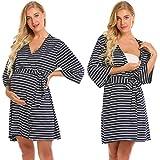 Ekouaer Womens Maternity Pregnancy Labor Robe Delivery Nursing Nightgowns Hospital Breastfeeding Gown,Navy Blue,XX-Large