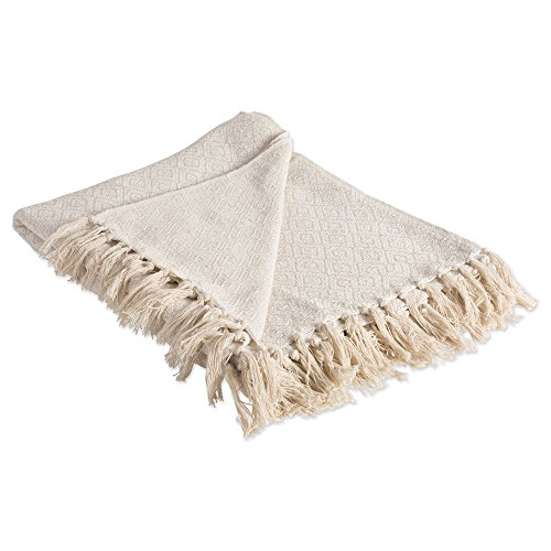 DII Rustic Farmhouse Cotton Diamond Blanket Throw with Fringe For Chair, Couch, Picnic, Camping, Beach, & Everyday Use , 50 x 60 - Fields of Diamond Natural