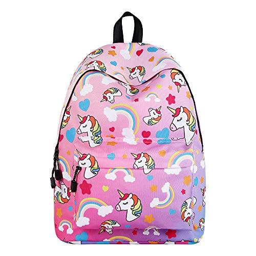 Reiserucksack 3D Unicorn Print Rucksack Kinder College School Bag für Jungen Mädchen Studenten (Rosa)