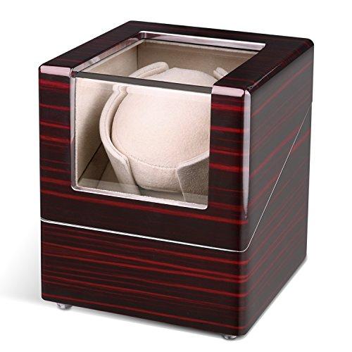 INTEY Cajas giratorias para Relojes Automaticos, Watch winder con 5 Tipos de modos de funcionamiento, silenciosa y hecho de madera