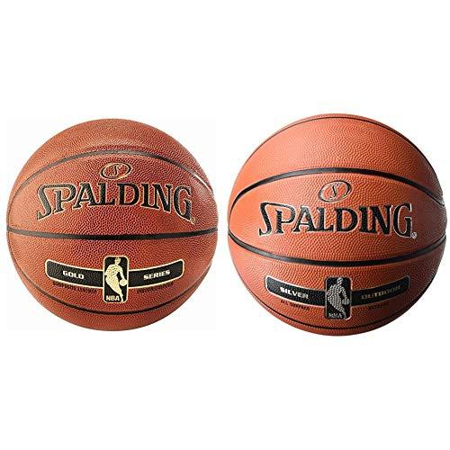 Spalding NBA Gold In/out 76-014Z Balón de Baloncesto, Naranja, 7 + NBA Silver Outdoor 83-568Z Balón de Baloncesto, Unisex, Naranja, 5