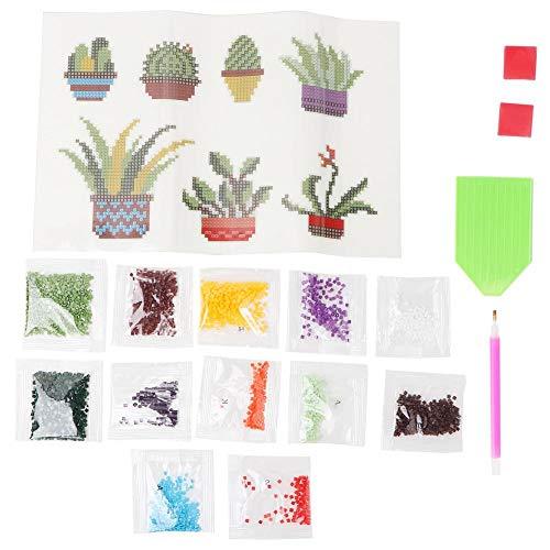 HEEPDD Diamant Schilderij Stickers Kits, Niet-giftige Groene Plant Diamant Tekening Tool Kinderen DIY Diamant Schilderij Pixel Tekenen en Borduurwerk Set