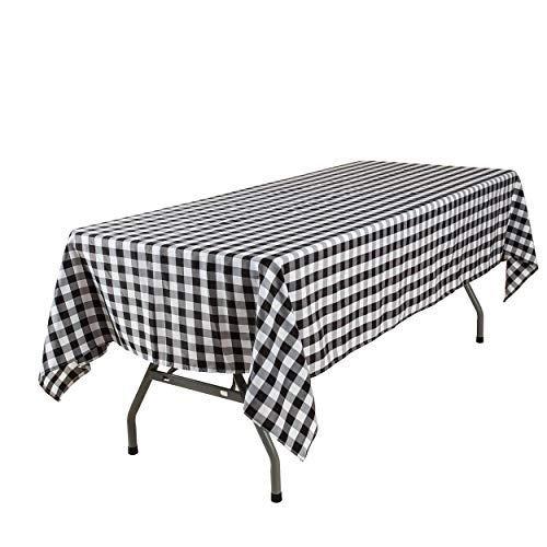Lycra Home Black and White Buffalo Plaid Tablecloth Gingham Tablecloth Fabric for Rectangle Tables 60 x 84 Inch Family Holiday,Camping Picnic,Rectangular Table Cloth (Black & White Plaids)