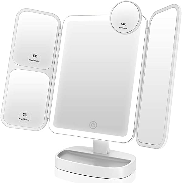 EASEHOLD Makeup Vanity Mirror With 1000LUX Bright LEDs Soft Natural 1X 2X 5X 10X Magnifying Ultra Thin Stable Base Portable 180 And 90 Rotation Touch Screen Dual Power Supply Upgraded Version III