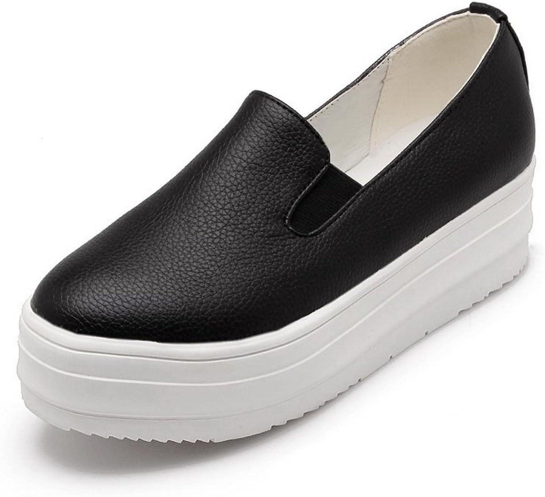 BalaMasa Womens Platform Round Toe Imitated Leather Pumps-shoes