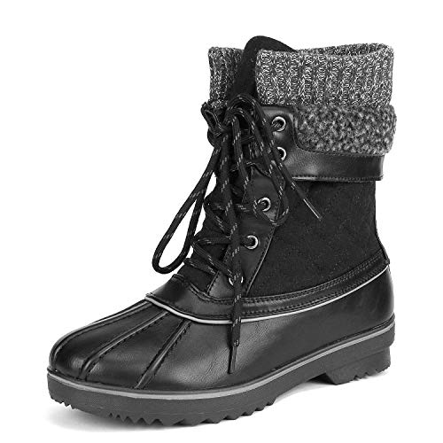 DREAM PAIRS Women's Monte_01 Black Mid Calf Winter Snow Boots Size 10 M US
