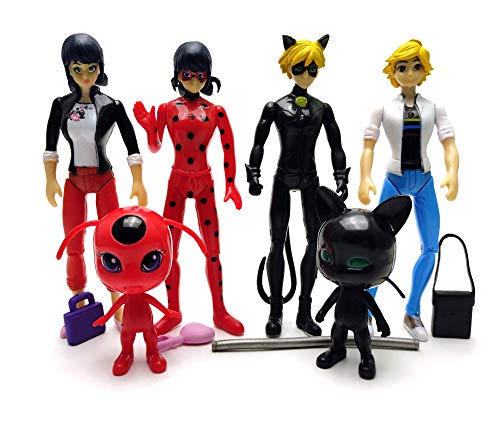 ALB Toys Inspired by Miraculous Ladybug + cat Noir + Tikki and Plagg (Miraculous Toy Set of 6 pcs)