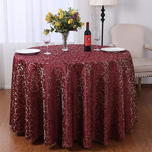 Kuingbhn Manteles Mesa Rectangular Jacquard Geométrico Light Luxury Home decoración de Mesa para Cocina y Comedor Wine Red Circle Diameter 300cm