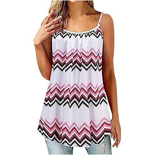 Camiseta sin mangas para mujer, de verano, informal, para mujer, talla de pulso, cuello redondo, sin mangas,...