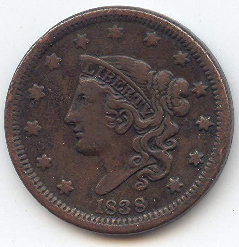 1838 Coronet Head Large Cent Very Fine