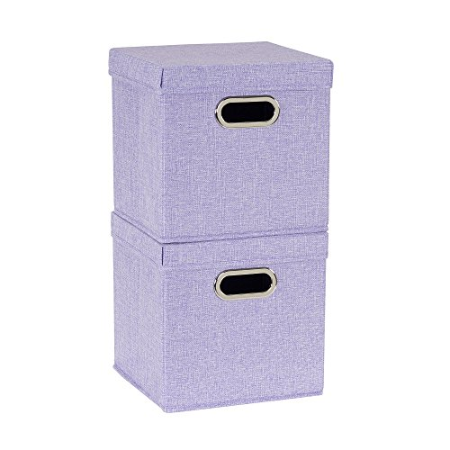 Household Essentials 814-1 Café Cube Bin Storage Set with Lids and Handles | 2 Pack, Purple Linen