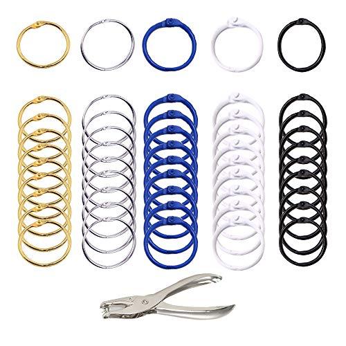 Aweisile Binder Ringe 50 Stück Metall Ringe Buch Ringe ringbuch ringe 5 Farbe Loseblatt Verbinder Ringe mit Locher für Tischkalender Schlüsselringe Loseblatt- und Prüfungspapier