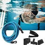 KIKILIVE Cinturón de natación para Exteriores, cinturón de Entrenamiento de natación, cinturón de Resistencia para natación, Cuerda elástica Duradera para Entrenamiento de Piscina (4M Light Blue)