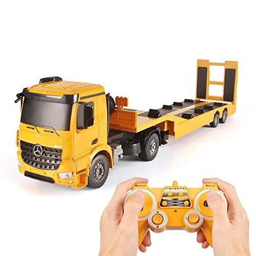 HLKYB RC Tow Truck con Licencia Mercedes-Benz Acros Semirremolque Plano Desmontable Ingeniería Remolque de Control Remoto Camión de Juguete con Sonido y Luces niños