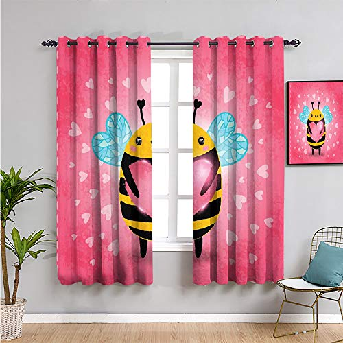 queen bee Bedroom Decor Blackout Shades, Curtains 72 inch length love valentines day bumblebee holding a giant heart cartoon style Indoor curtain coral pale blue yellow W63 x L72 Inch