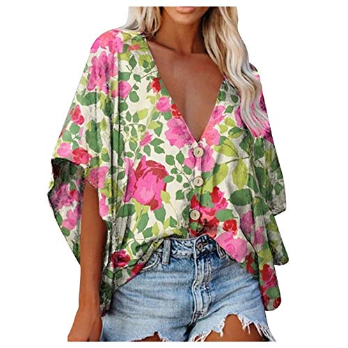 BUKINIE Tops for Women, Summer V Neck Floral Print T Shirt Bat Sleeve Loose Blouse Summer Hawaiian Vacation Tunic Shirts Green