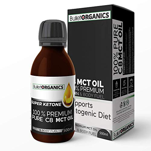 Bullet Organics – BulletMCT | Premium C8 MCT Oil | Ketone Fuel Boost | Up to 4X More Ketones Than Other MCTs | 100% Pure C8 MCT Oil | Vegan Keto Supplement (500ML)