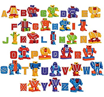 JOYIN Alphabet Robots Toys for Kids ABC Learning Transformers Toys Alphabots Transformer Letters Toddlers Education Toy Carnival Prizes Treasure Box and Prize for Classroom