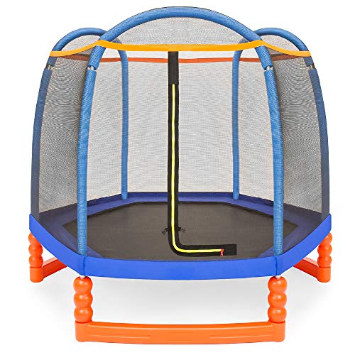 Best Choice Products 7ft Kids Enclosed Trampoline, Sturdy Indoor & Outdoor Children's Jumper w/Safety Net, Zipper Entrance, Spring Pad, Heavy Duty Water & Rust-Resistant Frame, 110lb Capacity