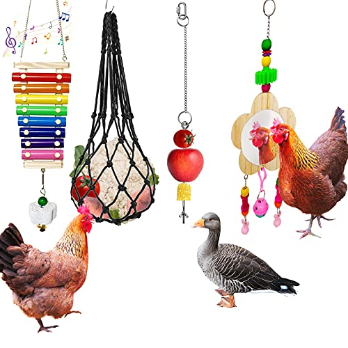 Tsin 4PCS Chicken Xylophone Toy for Hens,Chicken Mirror Toy with Bell,Chicken Feeding Tool Veggies Skewer Fruit Holder, Hanging Feeder for Poultry Hens Duck Goose