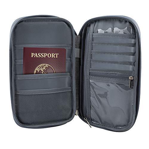 Redlemon Porta Pasaporte y Organizador de Documentos para Viaje de Gran Capacidad, Resistente a Salpicaduras, Múltiples Compartimentos y Cierres para Celular, Tarjetas, Dinero y...