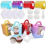 JJoexyfit 20 cajas individuales para cupcakes con asa, para galletas, postres, pasteles, dulces, regalos de boda (multicolor)