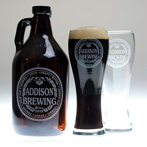 Custom Etched Beer Growler and 2 Glasses with Brewing Beer Names Label Design