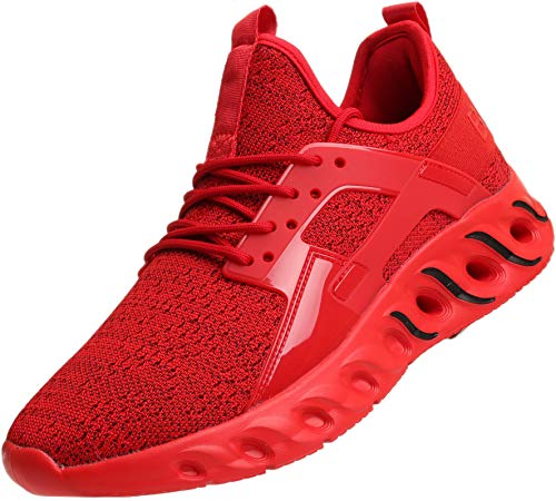 BRONAX Tennis Shoes for Men High Arch para Hombres Lace up Slip on Lightweight Comfortable Fashion Stylish Walking training Casual Volleyball Baseball Sports Athletic Running Sneakers Men's Red Size 8